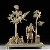 Moses Pachmann: Elfenbeinschnitzerei, Szene aus dem Alten Testament Moses erscheint der Engel, Sizilien, 18. Jahrhundert. Foto: Antiquitäten Pachmann
