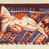 Ernst Ludwig Kirchner, Liegendes nacktes Mädchen mit Katze, undatiert (um 1922/24) Bild 9 von 10