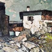 MULLEY, Oskar 1891 - 1949 Gebirgshof   Auktion 22. April 2013 Öl auf Leinwand, 60 x 101  cm € 10.0000 – 20.000