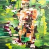 /  Deniz Alt. Form. Figur. Raum. /  Muse in grün 2020 Öl auf Leinwand / 80 x 100
