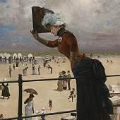 Franz Skarbina Dame auf der Wandelbahn eines Seebades, 1883, © Repro: Kai-Annett Becker