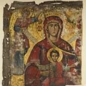 MUTTERGOTTES gekrönt, auf ihrem Schoß hält sie im Typus der Nikopeia das Jesuskind  Mindestpreis:220 EUR