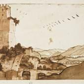 Claude Gellée, called Claude Lorrain The Valley of the Aniene, Near Tivoli, With the Ruins of the Aqua Anio Novus Aqueduct Estimate: 600,000 - 800,000 USD