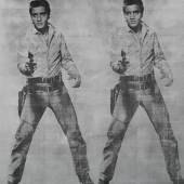 Andy Warhol, Elvis 2 Times 1963, Silkscreen ink and silver paint on linen Estimate $20-30 million