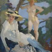Leo Putz (1969 - 1940)  Zwei Damen in einer Waldlichtung Öl auf Leinwand. Signiert 70 x 78 cm