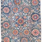 Shakhrisyabz Susani mit pastellroten Rosetten und Palmetten, Zweigen und Rankenwerk mit blauen und gelben Knospen sowie vier kleinen Vogelmotiven, Usbekistan, 19. Jahrhundert