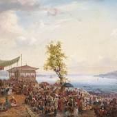 Mayer, Auguste Etienne Francois (Brest 1805 - 1890)  Festliches Treiben am Ufer des Bosporus bei Tophane mit Blick auf das Marmarameer und Konstantinopel. 48 x 78 cm, Öl/Leinwand links signiert und datiert 1836