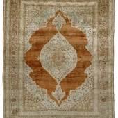 Täbris Seidenteppich  um 1900, 161 x 121 cm