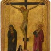 3004 NICCOLÒ DI SEGNA (tätig in Siena um 1331-1348) Kreuzigungsszene. 1325-30. Tempera und Goldgrund auf Holz. 35 x 21 cm. CHF 90 000 - 120 000