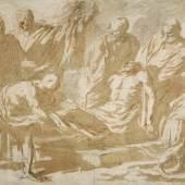 A164 / 3421 NEAPOLITANISCH, 2. Hälfte 17. Jh. Die Grablegung Christi. Feder und Pinsel in Braun und Grau, mit Rötel überarbeitet. 37x48 cm.  CHF 12 000 / 15 000
