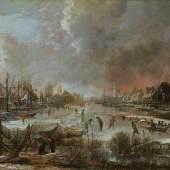 Aert van der Neer Winterlandschaft mit Feuersbrunst, um 1660 Öl auf Holz, 34 x 40,3 cm Privatsammlung