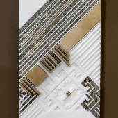 Nermeen Abu-Dail, Takween 2 Composition 2, Wall hanging artwork, White Corian with copper and copper in lay, 15x43 cm, 2014, Photo taken by Nabeel Qutteineh