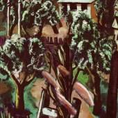 Max Beckmann (1884–1950) Neubau, 1928 Öl auf Leinwand 147 x 64 cm Göpel 288 Museum Frieder Burda, Baden-Baden Foto: Albert Fritz, Baden-Baden © ProLitteris, Zürich
