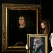 Newly discovered portrait of Olimpia Maidalchini Pamphilj by Diego Velázquez (£2-3mill) pictured here with a self-portrait by Francis Bacon £15-20 mill) who was deeply influenced by the Spanish master