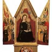 Niccolò di Tommaso (dokumentiert in Florenz, Neapel und Pistoia, 2. Hälfte 14. Jahrhundert) Thronende Madonna mit Kind und Engeln, zwölf Heiligen und einer Pietà, um 1370/80