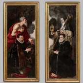 NICOLÁS CORTÉS – TEFAF PAINTINGS - STAND 369 ANTHONIS MOR (Utrecht, 1519 - Antwerp, 1577) WINGS OF AN ALTARPIECE: MALE DONOR WITH SAINT JEROME AND FEMALE DONOR WITH SAINT CLARE (EXTERIOR: VANITAS SCENES) Oil on panel 208.5 x 77.5 cm (82 x 30.5 in.)