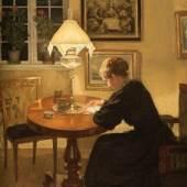 Niels Holsoe, Interieur mit lesender Frau © Staatliche Schlösser, Gärten und Kunstsammlungen Mecklenburg-Vorpommern, Foto: K. Beutel
