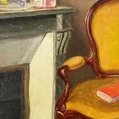Niklaus Stoecklin (1896-1982), Interieur mit Cheminée, o.J., Öl auf Pavatex, 33,5 x 27 cm