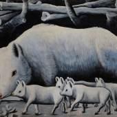 Niko Pirosmani | White Sow with Pigs | © Infinitart Foundation