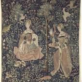La broderie, tapisserie faisant partie de la vie seigneuriale Wandteppich