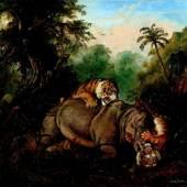 Raden Saleh Ben Jaggia  Kampf zwischen einem Rhinozeros und zwei Tigern   1840   Öl auf Leinwand   48 x 60cm  Ergebnis: 563.200 Euro
