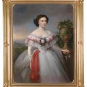 Nr. 36  Großes dekoratives Portrait Kaiserin Elisabeth mit Efeu, Öl/Leinwand, signiert J. N. Mayer (Johann Nepomuk Mayer, Wien 1806-1866) , datiert 1858, 141 x 107 cm Schätzwert € 24.000 - 28.000 (mit Franz Joseph-Portrait)