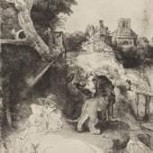 Rembrandt Harmensz. van Rijn (1606–1669) Der Heilige Hieronymus in italienischer Landschaft, um 1653 Radierung, Kaltnadel, Kupferstich, 259 x 210 mm Städel Museum, Frankfurt am Main Foto: Städel Museum, Frankfurt am Main