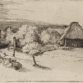 Rembrandt Harmensz. van Rijn (1606–1669) Landschaft mit Bäumen, Bauernhäusern und einem Turm, um 1651 Radierung und Kaltnadel, 123 x 319 mm Städel Museum, Frankfurt am Main Foto: Städel Museum, Frankfurt am Main