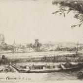 Rembrandt Harmensz. van Rijn (1606–1669) Landschaft mit Boot und einer Brücke, 1650 Radierung und Kaltnadel, 83 x 108 mm Städel Museum, Frankfurt am Main Foto: Städel Museum, Frankfurt am Main