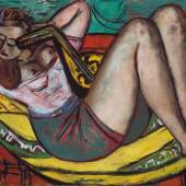 Max Beckmann (1884-1950) Frau mit Mandoline in Gelb und Rot, 1950 Öl auf Leinwand, 91,9 x 140,2 cm Bayerische Staatsgemäldesammlungen, Pinakothek der Moderne, München Foto: © bpk   Bayerische Staatsgemäldesammlungen © VG Bild-Kunst, Bonn 2011