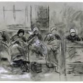 Max Liebermann (1847–1935) Sechs nähende holländische Mädchen vor einer Hauswand, um 1887 Schwarze und weiße Kreise, graues Velin, 270 x 365 mm © Städel Museum, Frankfurt am Main 1892 vom Künstler erworben