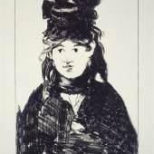 Edouard Manet (1832–1883) Bildnis Berthe Morisot in Schwarz, 1872, veröffentlicht 1884 Kreidelithographie, 450 x 315 mm Städel Museum, Graphische Sammlung, Frankfurt am Main Foto: Städel Museum - U. Edelmann - ARTOTHEK