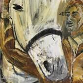 Albert Oehlen, Selbstportrait mit Pferd, 1985 Udo und Anette Brandhorst Sammlung Foto: Haydar Koyupinar, Bayerische Staatsgemäldesammlungen, München © Albert Oehlen