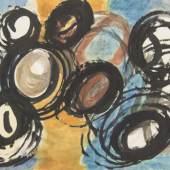 Johann Fruhmann, Ohne Titel, Mischtechnik auf Papier, um 1959, 70 x 100 cm, WVZ 2216
