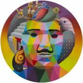 Okuda San Miguel, Birds inside my head, 2018, synthetic enamel on wood
