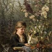 Olga Wisinger-Florian Mädchen mit weißem Hasen, 1883 Schätzpreis: 35.000 – 70.000 €