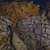 Otto Mueller Liebespaar zwischen Gartenmauern,1916 Leimfarben auf Rupfen 66 x 90 cm Brücke-Museum Berlin