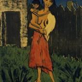 Otto Mueller Stehende Zigeunerin mit Kind, 1926 Farblithographie in Schwarz, Grün, Rot, Blau und Braun auf gelborangem Papier 68,8 x 50,1 cm Brücke-Museum Berlin