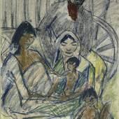 Otto Mueller Zigeunerfamilie vor Wagen, 1926 Farbkreiden 60 x 44 cm Brücke-Museum Berlin