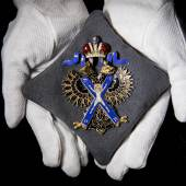 Russia, Order of St. Andrew, Badge in gold and enamels by Keibel, St Petersburg, from the full set of insignia bestowed upon George, Duke of Cambridge in 1874 Estimate £30,000-40,000