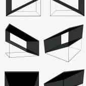 "OscART 2013: Anna-Maria Bogner ""o.T. 2013 Glas, Stahl Abmessungen: 18 x 18 x 18cm Entwurfsgrafiken"