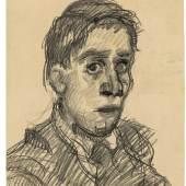 """Oskar Kokoschka (Pöchlarn 1886 – 1980 Montreux) """"Selbstbildnis"""". 1920 Kreide auf gelblichem Umdruckpapier. 67,8 × 46,8 cm ( 26 ¾ × 18 ⅜ in.). Schätzpreis:200.000 - 300.000 EUR"""