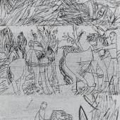 """Grieshaber, HAP 1909 Rot an der Rot - 1981 Reutlingen  Aus: """"Osterritt"""". 1964. Drei Farbholzschnitte (silber) auf schwarzem Bütten. a) Reiter und Bauer. b) Sveina. c) Ritt. Jeweils Passepartoutausschnitt: 30,5x53cm. Signiert. Rahmen. - Im Rahmen beschrieben. Wvz. Fürst, hier abweichende Farbvariationen: Nr. a) 64/58 und c) Nr. 64/85 (weißgrau auf schwarzem Bütten), b) Nr. 64/59 (weiß, grün und Krapplack auf schwarzem Bütten). Blätter aus der 39-teiligen Mappe """"Osterritt"""". Dazu Ausst.-Plakat """"Bei der WMF in Geißlingen"""". Alle drei Holzschnitte (silber/schwarz) auf Papier. Wvz. Fürst, Nr. 70/145. Aus einer Auflage von 200 Exemplaren. Preise & Bieten Schätzpreis: 2.000 - 2.200 €"""