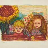 Bild 11: Otto Dix, Zwei Kinder mit Sonnenblume, Farblitografie, Ex.:73/80; 73,5&57,5 cm. 3.200 €