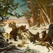 Otto Grashof (1812 – 1876) Winterliche Bärenjagd des Tsarevich Alexander Nikolaevich Öl auf Leinwand   107 x 146 cm Taxe: 40.000 – 60.000 Euro