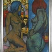 Otto Lackenmacher (Saarbrücken 1927-1988) Kneipenszene mit Männern und nackten Frauen, Öl auf Lwd., 105 x 70,5 cm Aufrufpreis:1.200 EUR Schätzpreis:1.200 EUR