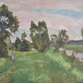 Otto MODERSOHN (1865-1943), Öl auf Kartonage, Landschaft am Bach mit Dame, u.re. monogr. und dat. OM.x 23, Maße: ca. 49 x 68,5 cm Mindestpreis:15.000 EUR