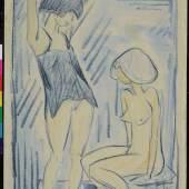 Otto Mueller, Akte im Hemd, um 1920, Kreidezeichnung, aquarelliert
