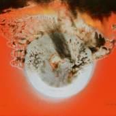 """375 PIENE, OTTO 1928 Laasphe/Westfalen  """"Komet"""". 1975. Mischtechnik auf rot grundiertem Karton. 67 x 96cm. Signiert und datiert unten rechts: Piene (eingekreist) 75. Betitelt unten links: 'Komet'. R Taxe: 20.000 – 30.000 €"""