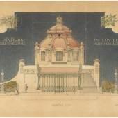 Otto Wagner | Hofpavillon der Stadtbahn in Wien-Hietzing, Orthogonalansicht, 1898 | Albertina, Wien
